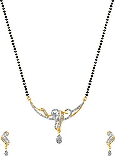 Aabhu American Diamond Mangalsutra Tanmaniya Necklace Pendant Set with Earring and Chain Jewellery for Women (B078THNDCB) Amazon Price History, Amazon Price Tracker