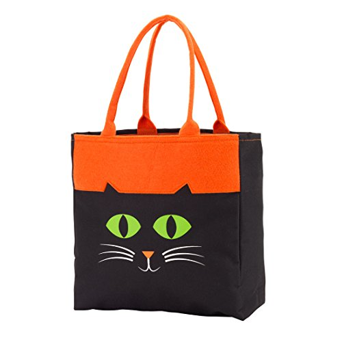 Spooky Halloween Polyester Felt Trick-or-Treat Tote Bag (Cat) (Halloween Treat Bags Walmart)