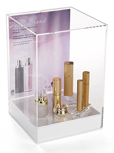 Displays2go, Clear Square Display Box, Acrylic Construction – Crystal Clear, White Base (DC8511CSGN) by Displays2go