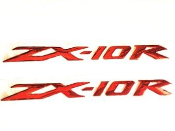 Amazon.com: 3d calcomanía rojo Raised para Kawasaki ZX-10R ...