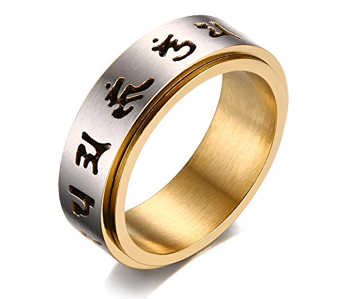 PJ Jewelry Mens Womens Tibetan Buddhist Sanskrit Mantra Om Mani Padme Hum Wheel Prayer Spinner Ring,Size 8