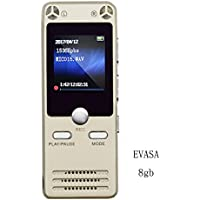 Digital Voice Recorder by EVASA,FM Radio,Mp3 Player,8GB Portable HD Dual-Mic Recorder,Voice Activated,Noise Cancelling,Premium Quality Metal Casing Dictaphone(Gold)