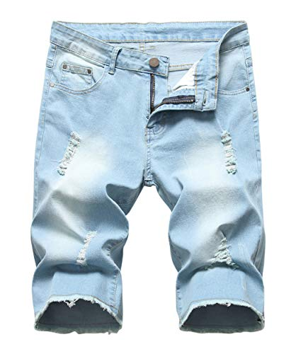 Sarriben Men's Casual Summer Distressed Button up Stretch Ripped Jeans Shorts with Repair Rips Light Blue