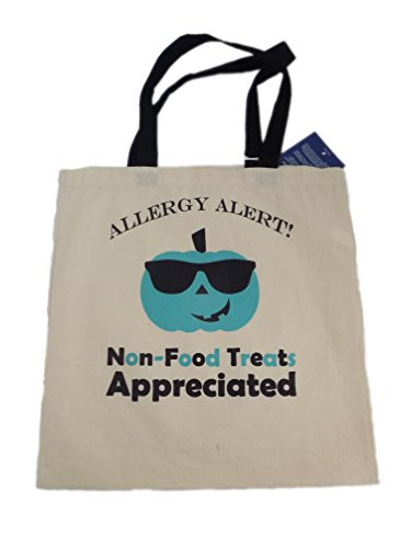Teal Pumpkin Trick or Treat Tote Bag - Allergy Alert Non-Food Treats Appreciated (Peanut Allergy Safe Halloween Candy)