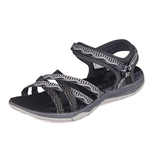 Image of GRITION Women Hiking Sandals, Outdoor Girl Sport Summer Flat Beach Water Shoes Open Toe Adjustable Walking Shoes (11 US, Black/Grey)