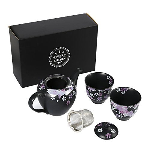 Seb's Kitchen Japanese Handcrafted Cherry Blossom 3pc Tea Gift Set