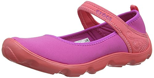 Crocs Junior Duet Busy Day Mary Jane Shoe, Vibrant Violet/Coral, US 5 Big Kid by Crocs