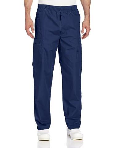 Landau Men's Cargo Scrub Pant, Navy, X-Large - Elastic Cargo Scrub Pants