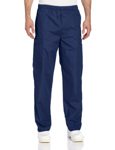 Landau Men's Comfort 7-Pocket Elastic Waist Drawstring Cargo Scrub Pant, Navy, Medium ()