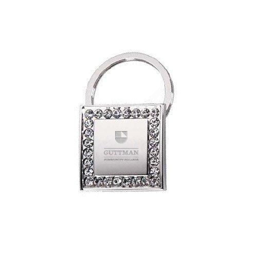Guttman Crystal Studded Square Key Holder 'Guttman Community College Striped Shield'