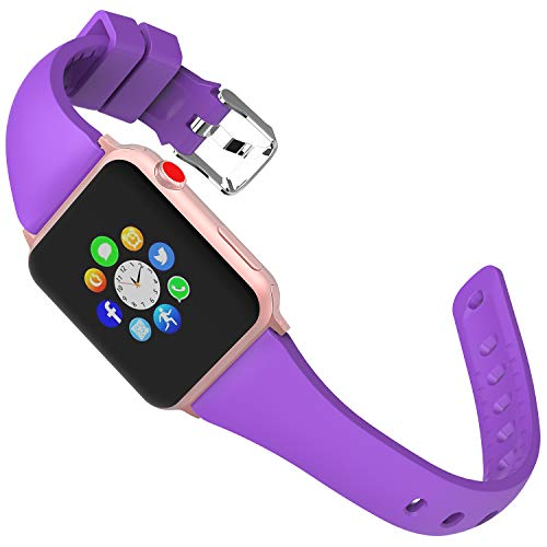 (Lwsengme Sport Band Compatible with Apple Watch Series 4&3&2&1, Choose Color-Soft Rubber & Width(38mm/40mm,42mm/44mm) Fashion Slim Replacement Wristbands Compatible with iWatch Series 4/3/2/1)