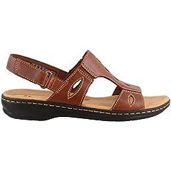 Clarks Women's Leisa Lakelyn Flat Sandal, Tan Leather, 7 M US