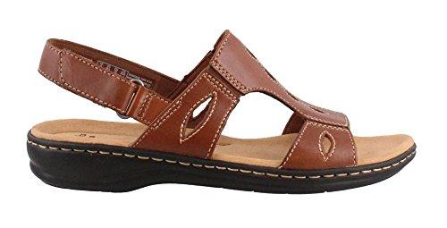 Clarks Women's Leisa Lakelyn Flat Sandal, Tan Leather, 12 W (Leather Flat Sandals)
