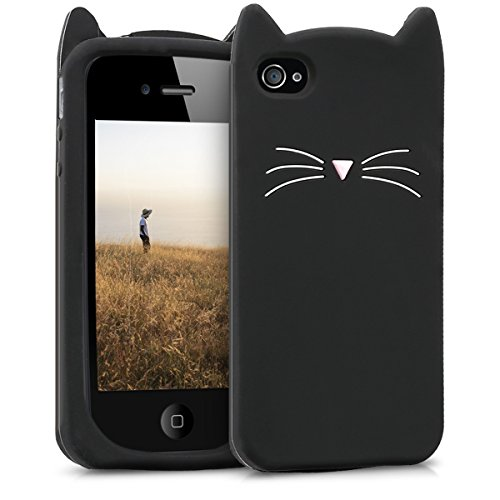 kwmobile TPU Silicone Case for Apple iPhone 4 / 4S - Soft Flexible Shock Absorbent Protective Phone Cover - Black/White