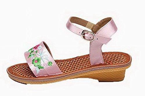 Surtidos Sandalias Mini De Tacón Hebilla Agoolar Gmxlb008968 Con Mujeres Rosa Colores Vestir FCZn4wIfxq