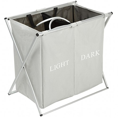 Double Light and Dark Laundry Hamper with Aluminum Frame, 2 Sections Laundry basket, 600D Oxford, 23.2