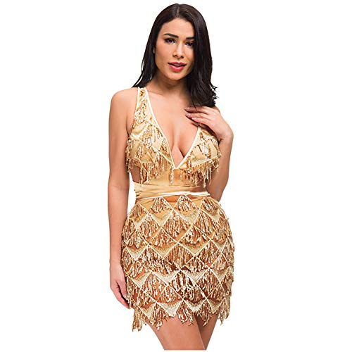 L'VOW Women's Glitter Sexy Deep V Neck Sequin Beaded Halter Bodycon Mini Nightclub Party Dress (L, Gold)