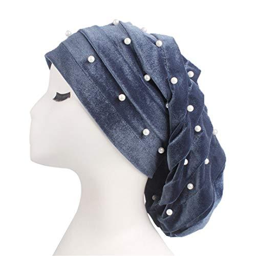 Pearl Beaded Ruffle Baggy Hat Women Velvet Stretch Turban Cap for Hair Loss Head Scarf Wrap Gray