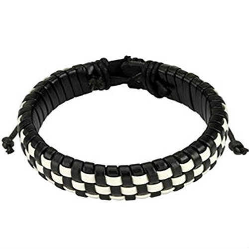 Black and White Checker Weaved Layers Leather Bracelet with Drawstrings, Adjustable Size by Sliding Tie-Knot Closure and One Size Fits Most (Extends upto 10