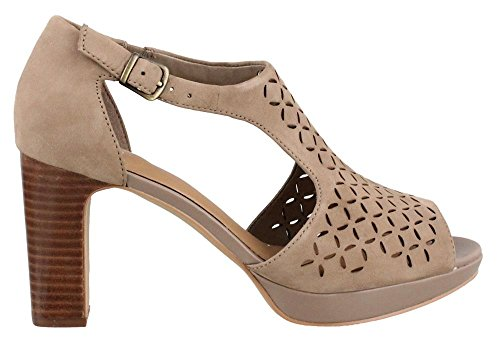 Clarks Women's Jenness Energy Dress Sandal, Pebble Nubuck, 8 M US