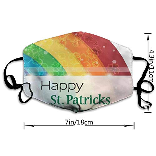 NA St,Patrick's Day Rainbow Personality Lovely Unisex Dust Mask, Suitable for Young Men and Women, Ski Bike Camping Windproof Motorcycle Face Mask