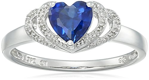 Sapphire Accent Ring (Sterling Silver Created-Blue-Sapphire and Diamond Accent Open Halo Heart Ring, Size 8)