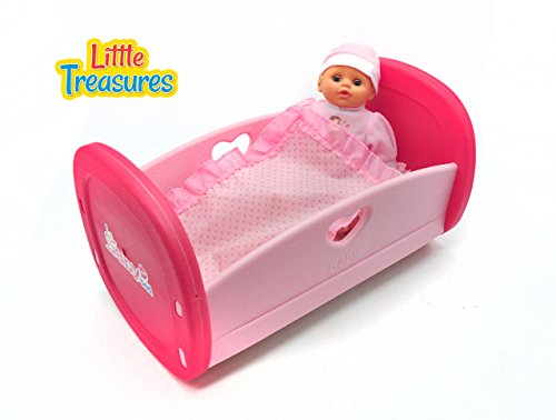 Little Treasures Baby Bed complete with life-like doll and bedding toy set