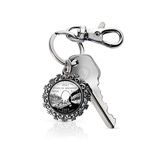 Silver Missouri Quarter - Akissey United States Quarter Dollar Photo Charm Key Chain, Patriotic Key Fob (Missouri)
