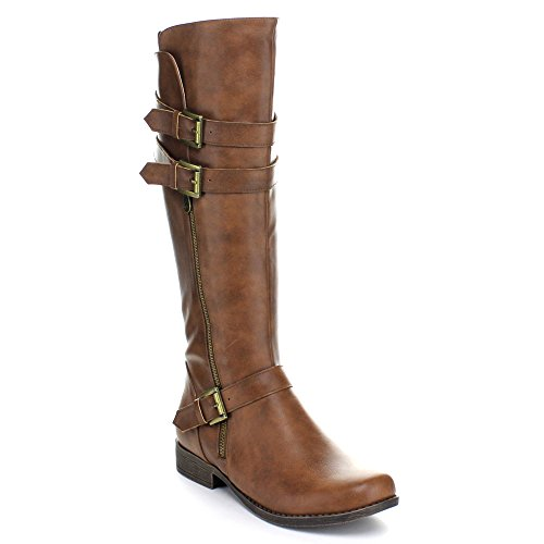 Fashion Focus Bella-2 Womens Faux Leather Knee High Riding Boots Brown 651Si1Z