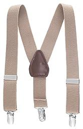 Albert's Baby/Kids Solid Color Elastic Adjustable Wedding Suspenders (22'', Tan)