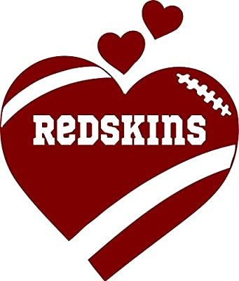 Redskins Heart Football In Maroon 5 inches Sticker