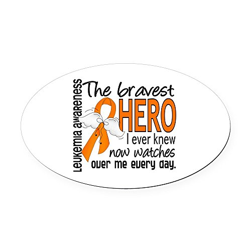 CafePress - Bravest Hero I Knew Leukemia Oval Car Magnet - Oval Car Magnet, Euro Oval Magnetic Bumper ()