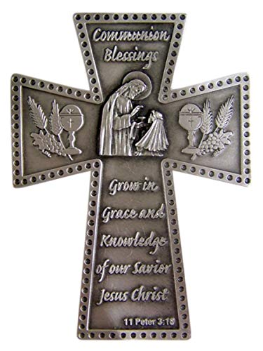 Religious Home Decor Silver-Toned Pewter Communion Blessings Girl's First Communion Hanging Wall Cross, 5 7/8 - Cross First Wheat Communion