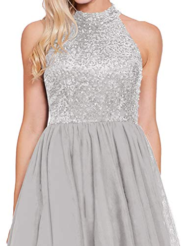 Cocktail Halter Back Dresses line Short Party Sequin Silver A Dress Open Homecoming Evening Dress 5q0gXn
