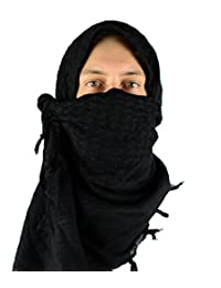 Mato & Hash Military Shemagh Tactical 100% Cotton Scarf Head Wrap - Blackout CA2100