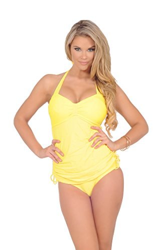 Womens One Piece Halter Side Shirring Drawstring Tie Slimming Fauxkini Swimsuit
