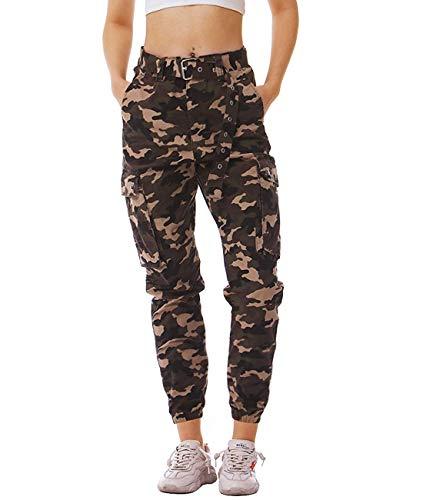 Idgreatim Damen Hosen Camouflage Cargohosen Casual Baumwolle Jogginghose Sporthose Military Freizeithose mit Gürtel