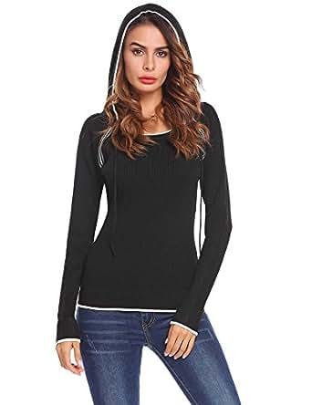 Mofavor Women's Autumn Winter Warm Cool Hooded Sweater Hoodies Pullover Sweatshirts Black S