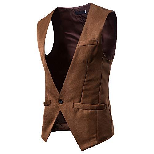 Magiyard Costume Unie Manche Veste Sans Gilet Marron5 Couleur De rEUrqa