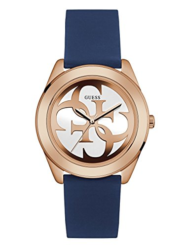 GUESS-Womens-Quartz-Stainless-Steel-and-Silicone-Casual-Watch-ColorBlue-Model-U0911L6