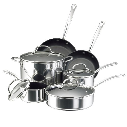 Farberware 75655 Millennium Stainless Steel Nonstick 10-Piece Cookware Set, Silver