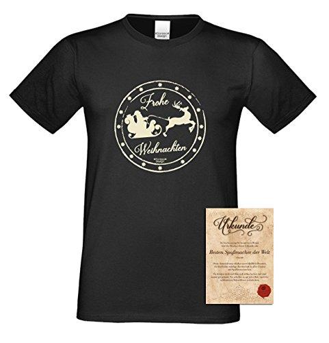 T-Shirt - Frohe Weihnachten Weihnachtsmann mit Schlitten - Weihnachtsshirt als Outfit für die Festtage