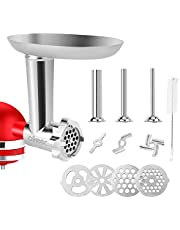 Food Meat Grinder Attachments for KitchenAid Stand Mixers, Including 4 Grinding Plates, 3 Sausage Stuffers Compatible with All KitchenAid Stand Mixers by aikeec