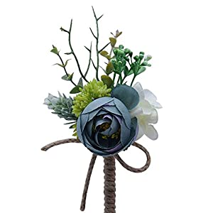 S_SSOY Boutonniere Corsage Flower Bridegroom Groom Men's Brooch Boutonniere Groomsmen Best Man Boutineer with Pin for Wedding Prom Homecoming Party 34
