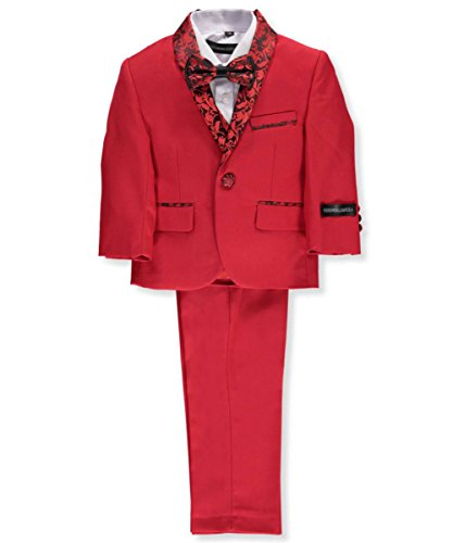 Rounded Lapel (Kids World Baby Boys' 5-Piece Suit - Red, 18 Months)