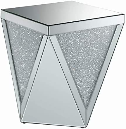 Coaster Home Furnishings Square Triangle Detailing Silver and Clear Mirror End Table