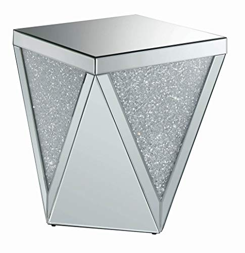 Coaster 49 Mirrored Accent End Table in Silver