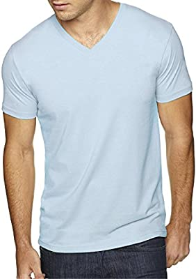fde4a6644554 Next Level Apparel 6440 Mens Premium Fitted Sueded V-Neck Tee - Light Blue,  Medium. Back. Double-tap to zoom