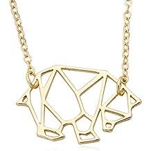 MANZHEN Geometric Origami Bear Panda Pendant Necklace Animal Necklace