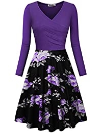 Womens Floral Printed Dress, A Line Long Sleeve V-Neck Elegant Dress Pockets